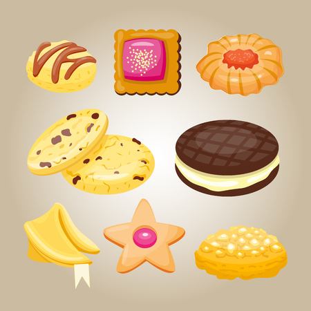 Different cookie homemade breakfast bake cakes isolated and tasty snack biscuit pastry delicious sweet dessert bakery eating vector illustration. Stock Vector - 74662579