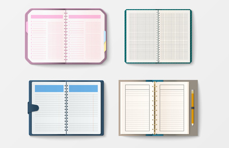 note pad: Set of open realistic notebooks with pages diary office sheet template booklet and blank paper education copybook organizer vector illustration.