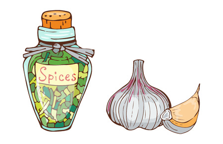 Jar with cooking ingredients pepper garlic paprika curry and seasoning hand drawn style vegetable ingredient vector illustration. Illustration