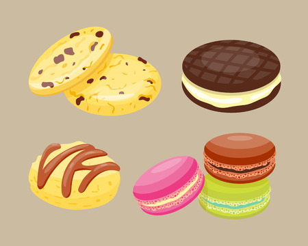 indulgence: Different cookie homemade breakfast bake cakes isolated and tasty snack biscuit pastry delicious sweet dessert bakery eating vector illustration.