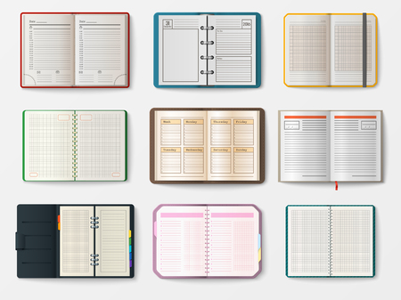 open notebook: Set of open realistic notebooks with pages diary office sheet template booklet and blank paper education copybook organizer vector illustration.
