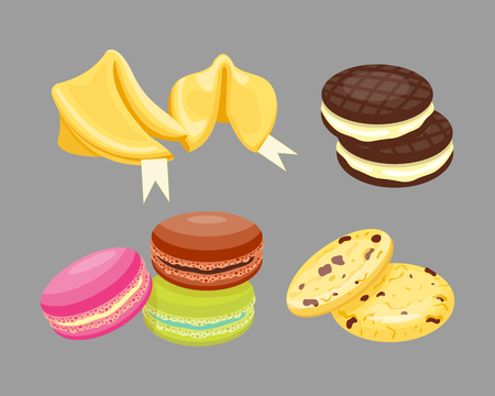 Different cookie homemade breakfast bake cakes isolated and tasty snack biscuit pastry delicious sweet dessert bakery eating vector illustration.
