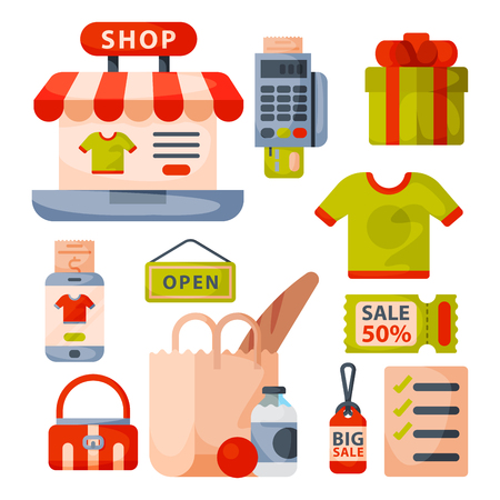 Supermarket grocery shopping retro cartoon icons set with customers carts baskets food and commerce products isolated vector illustration.