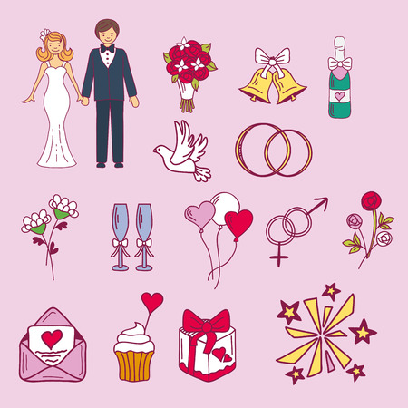 Bride and groom wedding couple marriage nuptial icons design ceremony celebration and holliday people folk icons beauty portrait family vector illustration. Ilustração