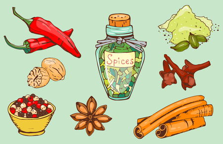 향신료, 손, 그릴, 음식, 식물, 건강, 유기, 야채, 벡터, 일러스트 레이션,