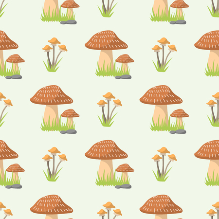 Mushrooms seamless pattern different types of nature food background cook flat style vegetable season champignon ingredient vector illustration.