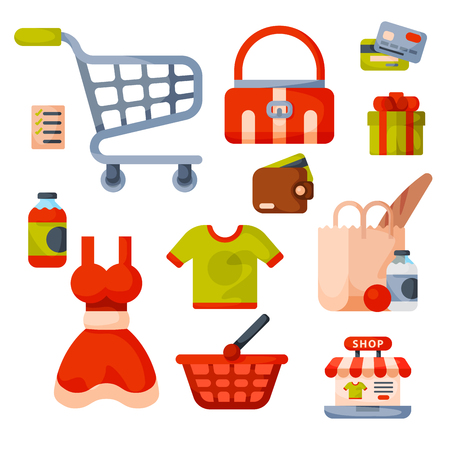 Supermarket grocery shopping retro cartoon icons set with customers carts baskets food and commerce products