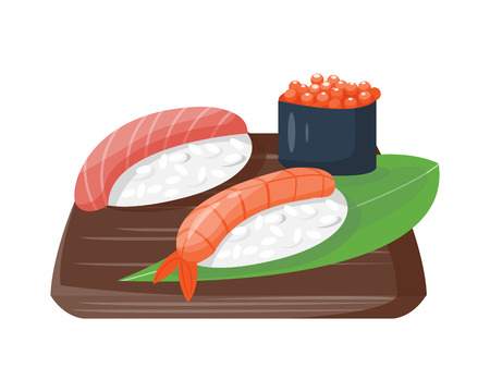 Sushi japanese cuisine traditional food flat healthy gourmet icons and oriental restaurant rice asia meal plate culture roll vector illustration. Illustration