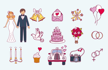 Bride and groom wedding couple marriage nuptial icons design ceremony celebration and holliday people folk icons beauty portrait family vector illustration. Illustration