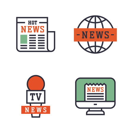 Hot news icons flat style colorful set websites mobile and print media newspaper communication concept internet information vector illustration. Stock Vector - 75329981