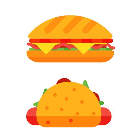 cheddar: Colorful sandwich cartoon fast food icons.