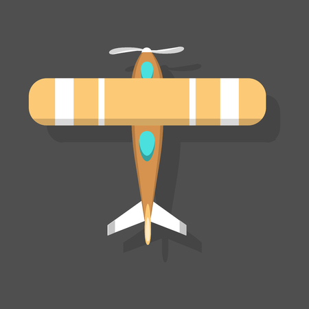 fuselage: Vector orange airplane illustration top view and aircraft transportation design journey speed plane.