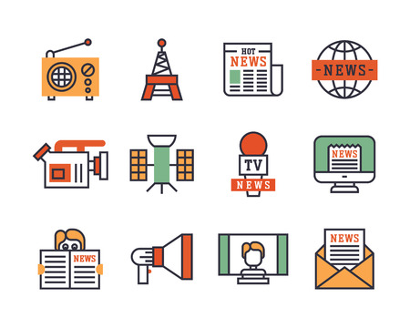 Hot news icons flat style colorful set websites mobile and print media newspaper communication concept internet information vector illustration. Illustration