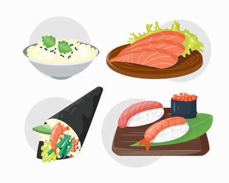 gourmet meal: Sushi japanese cuisine traditional food flat healthy gourmet icons and oriental restaurant rice asia meal plate culture roll vector illustration. Illustration