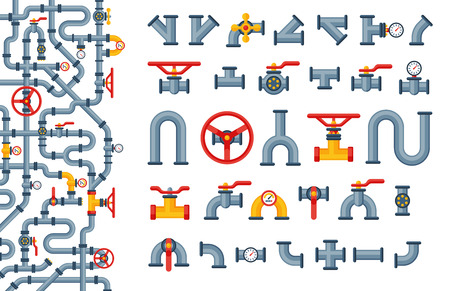 Details pipes different types collection of water tube industry gas valve construction and oil industrial pressure technology plumbing vector illustration. Ilustração
