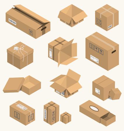 Vector illustration moving box isometric isolated.