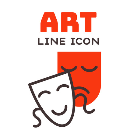 Comedy and tragedy theatrical masks comedy symbol and vector theater humor performance face illustration badge. Ilustração