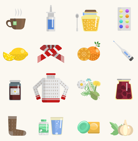 influenza: Flu influenza icons set