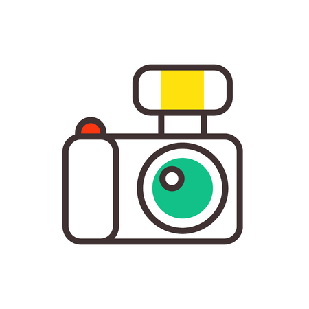 Photo camera vector reflection movie instrument on white background and outline type objective equipment line art professional look illustration.