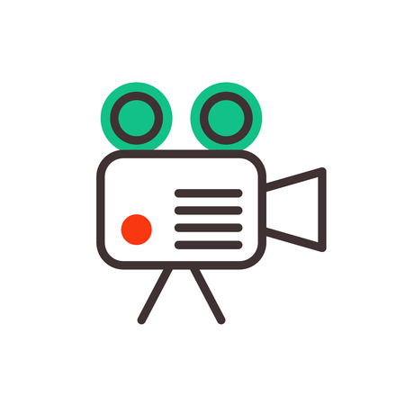 Camera video optic objective retro equipment professional look and digital vintage technology electronic aperture device vector illustration.