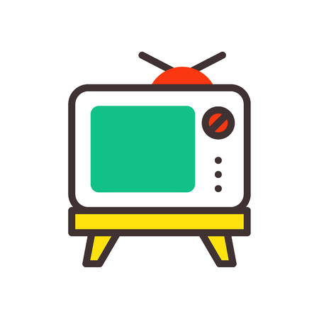 TV screen vintage monitor template electronic device technology digital line art display and video retro outline home tool vector illustration.