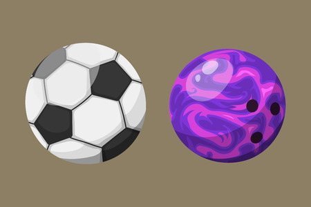 Sport balls isolated tournament win round basket soccer equipment and recreation leather group traditional different design vector illustration.