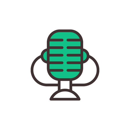 Microphone vector icon isolated interview music TV web broadcasting vocal tool show voice radio broadcast audio live record studio sound media set Stock Vector - 75806207