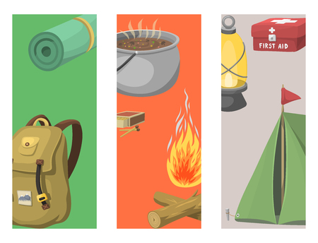 Hiking cards camping equipment gear and accessories hike outdoor cartoon travel vector illustration.