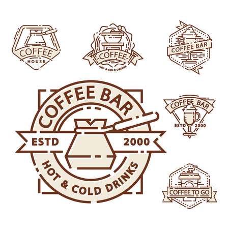 Coffee badge food thin line lettering for restaurant, cafe menu coffee house and shop sticker vector. Illustration