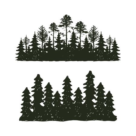 트리 야외 여행 검은 실루엣 구과 맺는 자연 배지, 길어야 소나무 가문비 나무 분기 시더 및 식물 잎 추상 줄기 드로잉 벡터 일러스트 레이 션.