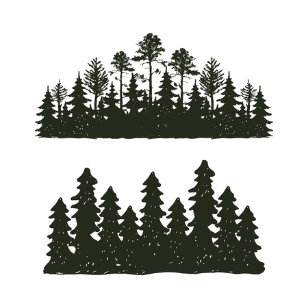 Tree outdoor travel black silhouette coniferous natural badge, tops pine spruce branch cedar and plant leaf abstract stem drawing vector illustration.