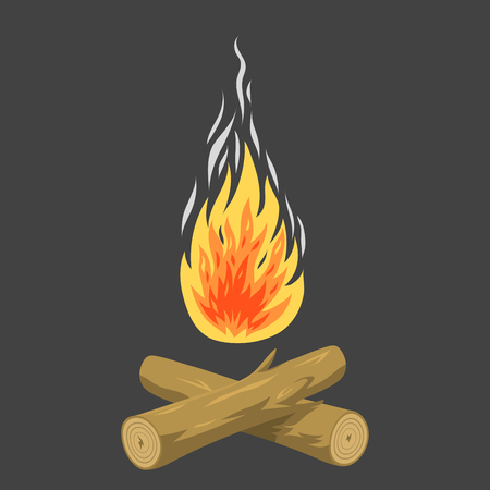 Isolated illustration of campfire logs burning bonfire and firewood stack vector blazing power.