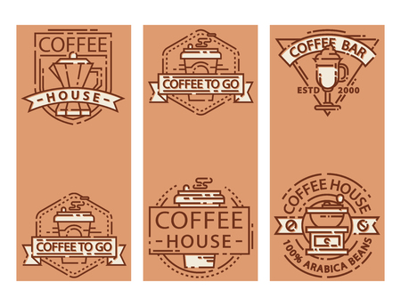 Coffee cards food design thin line for restaurant, cafe menu beverage sticker vector illustration.