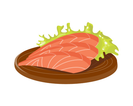 Salted red fish slice on wooden board fresh meat plate healthy fillet meal dinner vector and gourmet food diet ingredient portion prepared illustration. 向量圖像