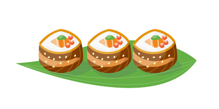 Sushi japanese cuisine traditional food flat healthy gourmet icon and oriental restaurant rice asia meal plate culture roll vector illustration.