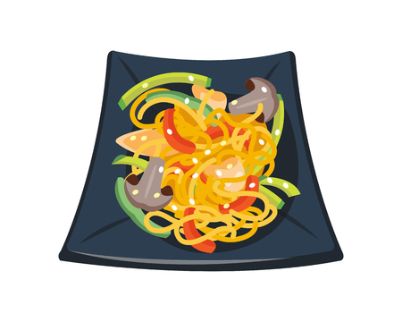 Pasta tomato sauce with mushrooms tomatoes decorated with parsley bowl isolated breakfast healthy food hot delicious cuisine vector illustration.