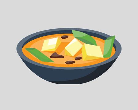 Soup plate in bowl isolated on white background breakfast healthy food hot delicious and vegetarian groats garnish bread cuisine vector illustration. Illustration