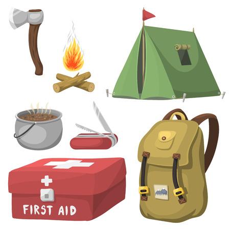 Wandeling het kamperen van het kampeeruitrusting kampentoestel en van het toebehoren openluchtbeeldverhaal reis vectorillustratie.