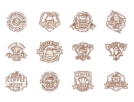 Coffee badge food thin line lettering for restaurant, cafe menu coffee house and shop sticker vector. Ilustração