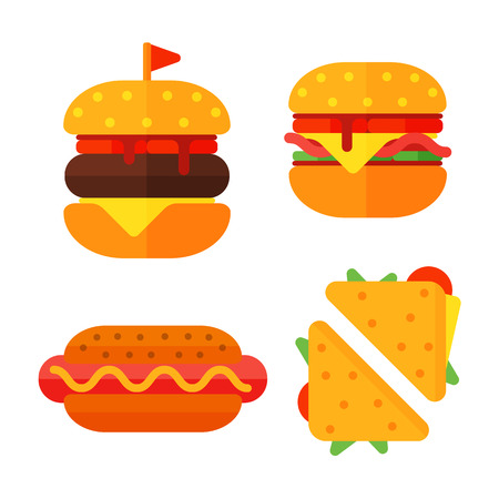 Set of colorful cartoon fast food icons isolated restaurant tasty american cheeseburger meat and unhealthy burger meal vector illustration.