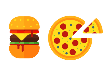 homemade bread: Colorful sandwich cartoon fast food icons isolated restaurant tasty american cheeseburger meat and unhealthy burger meal vector illustration.