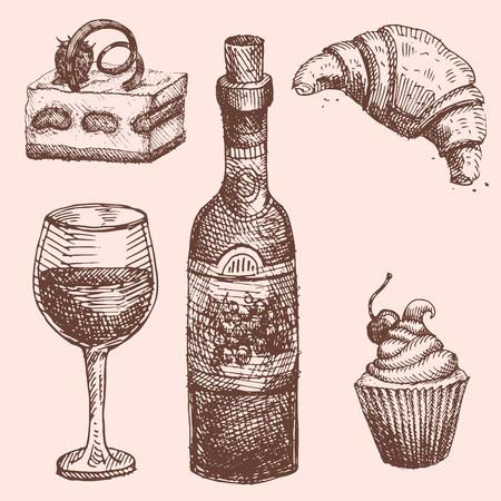 Hand getrokken voedsel schets voor menu restaurant product en doodle maaltijd keuken vectorillustratie. Stock Illustratie