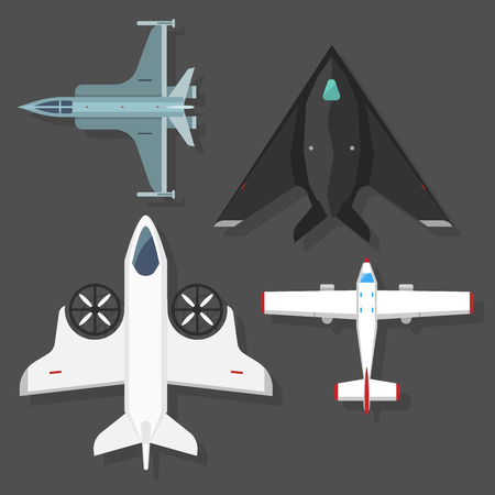 Vector airplane illustration top view and aircraft transportation travel way design journey object. Ilustração