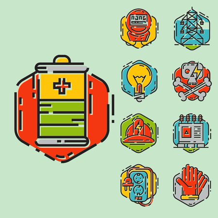 Energy outline colorful style and resource icon set vector illustration electricity industrial current. Imagens - 76164526