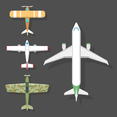 Vector airplane illustration top view and aircraft transportation travel way design journey object. Çizim