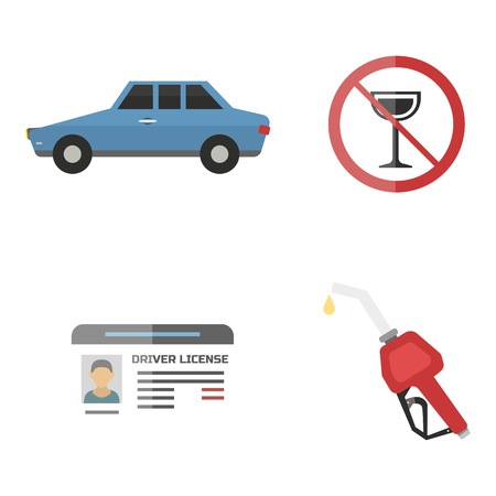 Auto vervoer automobilist pictogram symbool voertuig apparatuur service auto bestuurder tools illustratie. Stock Illustratie