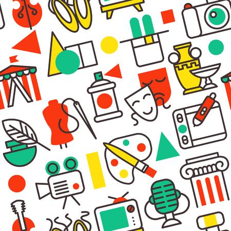 Set of outline art icons in flat design symbols illustration pattern Illustration