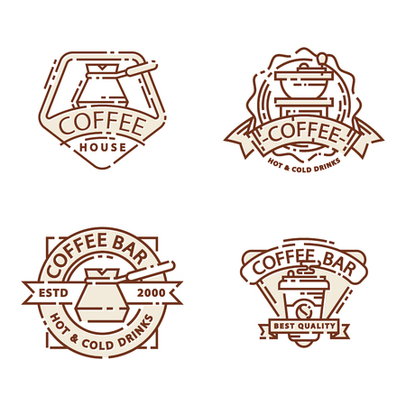 Coffee badge food thin line lettering for restaurant, cafe menu coffee house and shop sticker. Ilustração