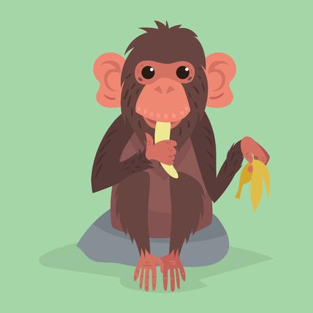 Cute monkey character animal wild zoo ape chimpanzee illustration.