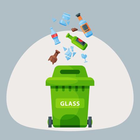 Recycling garbage glass trash bag tires management industry utilize waste can illustration.